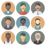 Icons Set of Persons Male Different Ethnic. Colorful Circle Icons Set of Persons Male Different Nationality in Trendy Flat Style Stock Photos