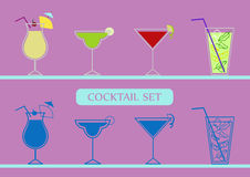 Icons set with pinacolada, margarita, cosmopolitan and mojito cocktails. Two variants. Multicolored and monochrome stock illustration