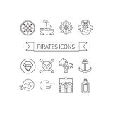 Icons set pirates. Vector illustration in line style Royalty Free Stock Photo