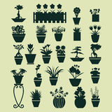 Icons set of Plant silhouette collection - Illustration Stock Photo