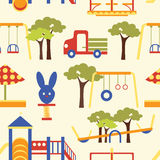 Icons set of playground equipments pattern Royalty Free Stock Images
