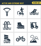 Icons set premium quality of active and extreme rest holiday weekend sports hobby life style. Modern pictogram collection flat des Stock Photo
