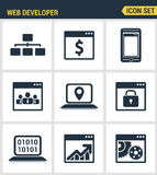 Icons set premium quality of adaptive website customization, web develop process.   Royalty Free Stock Photo