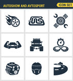 Icons set premium quality of autoshow and avtosport monster truck engine car racing rally muscle car. Modern pictogram collection Royalty Free Stock Photo