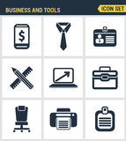 Icons set premium quality of basic business essential tools, office equipment. Modern pictogram collection flat design style. Isol. Ated white background Royalty Free Stock Photo