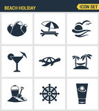 Icons set premium quality of beach holiday diving travel worldwide nature vacation. Modern pictogram collection flat design style Stock Images