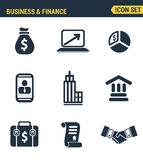 Icons set premium quality of business economic development. Financial growth. Modern pictogram collection flat design style.  white background Royalty Free Stock Image