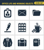 Icons set premium quality of business items, office tools, working objects and management elements. Modern pictogram collection fl. At design style. Isolated Stock Image