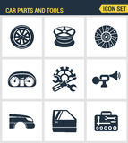 Icons set premium quality of car parts tools icon  transport workshop service mechanic. Modern pictogram collection flat Stock Images