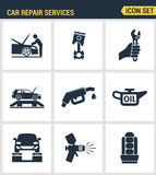 Icons set premium quality of car repair services instrumentation support technology tool service. Modern pictogram collection flat Stock Image