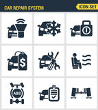 Icons set premium quality of car repair system icon  automobile instrument service. Modern pictogram collection flat Stock Photography