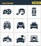 Icons set premium quality of cars driving transportation transport car automobile. Modern pictogram collection flat Stock Photo