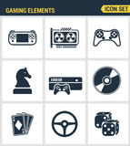 Icons set premium quality of classic game objects, mobile gaming elements. Modern pictogram collection flat design style stock illustration