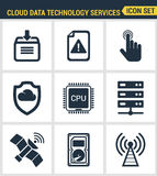 Icons set premium quality of cloud data technology services, global connection. Royalty Free Stock Photos
