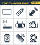 Icons set premium quality of computer technology and electronics devices, mobile phone communication and digital product Stock Photography
