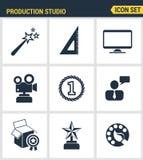 Icons set premium quality of content production studio Stock Photo