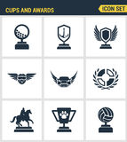 Icons set premium quality of cups and awards prize victory set award champ trophy. Modern pictogram collection flat design style s Stock Images