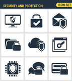 Icons set premium quality of cyber security, computer network protection. Modern pictogram collection flat design style Royalty Free Stock Images