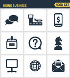 Icons set premium quality of doing business using technology and communication. Modern pictogram collection flat design Royalty Free Stock Images