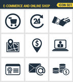 Icons set premium quality of e-commerce shopping symbol. Online shop elements and commerce item, internet store product. Modern pictogram collection flat Royalty Free Stock Image