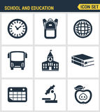 Icons set of premium quality of elementary school objects and education items, learning symbol and student equipment Royalty Free Stock Photo