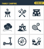 Icons set premium quality of family camping travel summer nature cooking vacation camp. Modern pictogram collection flat design st Royalty Free Stock Images