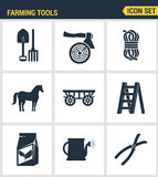 Icons set premium quality of farming tools instrument farm equipment agricultural. Modern pictogram collection flat design style s Stock Photos