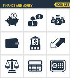 Icons set premium quality of finance objects and banking elements, financial items and money symbol. Modern pictogram Stock Photos