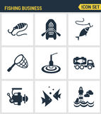 Icons set premium quality of fishing business transportation fish seafood sea fish. Modern pictogram collection flat design style. Symbol collection. Isolated Stock Photography