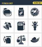 Icons set premium quality of fitness diet promises more effective weight loss. Modern pictogram collection flat design. Style symbol collection. Isolated white Stock Images
