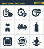 Icons set premium quality of fitness icon. Sports food load mode burn calories healthy diet. Modern pictogram collection Royalty Free Stock Image