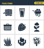 Icons set premium quality of food Items business industry farm products plant fruit. Modern pictogram collection flat design style Royalty Free Stock Photo