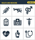 Icons set premium quality of healthcare professionals and medical equipment. Modern pictogram collection flat design. Style symbol collection. Isolated white Stock Photo