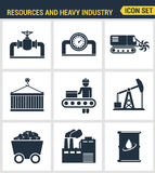 Icons set premium quality of heavy industry, power plant, mining resources. Modern pictogram collection flat design style symbol c Stock Image