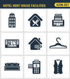 Icons set premium quality of hotel service amenities, rent house facilities. Modern pictogram collection flat design Stock Photos