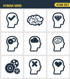 Icons set premium quality of human mind process, brain features and emotions. Modern pictogram collection flat design Royalty Free Stock Photos