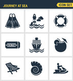Icons set premium quality of journey at sea summer tropical vacation diving sea. Modern pictogram collection flat design style sym Stock Photo