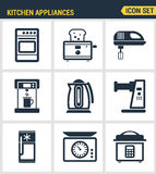 Icons set premium quality of kitchen utensils, household tools and tableware. Modern pictogram collection flat design Stock Images