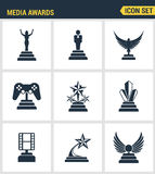 Icons set premium quality of media awards champion prize business reward elements. Modern pictogram collection flat design style s Royalty Free Stock Photography