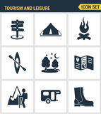 Icons set premium quality of outdoor recreation activity and hiking tourism.   Stock Photo
