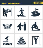 Icons set premium quality of outdoor sports training, various athletic activity Modern pictogram collection flat design Royalty Free Stock Photography