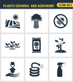 Icons set premium quality of plants growing and agronomy farming farmer bio stem. Modern pictogram collection flat Royalty Free Stock Image