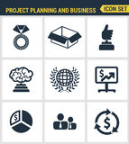 Icons set premium quality of project planning and business workflow development. Modern pictogram collection flat design style symbol collection.  white Royalty Free Stock Images