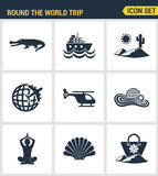 Icons set premium quality of round the world trip transport vacation travelling transportation. Modern pictogram collection flat d Stock Photos