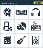 Icons set premium quality of sound symbols and studio equipment. Music instruments, audio and multimedia objects. Modern pictogram collection flat design style Stock Photo