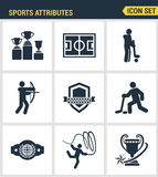 Icons set premium quality of sports attributes, fans support, club emblem. Modern pictogram collection flat design style symbol co Stock Images
