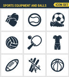 Icons set premium quality of sports equipment and wear, various type  balls.. Icons set premium quality of sports equipment and wear, various type of balls Stock Image