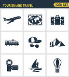 Icons set premium quality of tourism travel transportation, trip to resort hotel.   Royalty Free Stock Photo