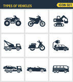 Icons set premium quality of types  vehicles traffic car transport auto icon . Modern pictogram collection flat design Royalty Free Stock Photo