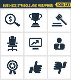 Icons set premium quality of various business symbols and metaphor elements. Modern pictogram collection flat design Royalty Free Stock Images